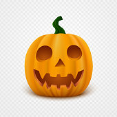 Realistic vector Halloween Pumpkin with scary face. Jack o lantern isolated on transparent background.