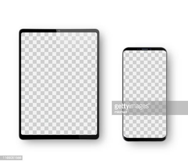realistische vektor-illustration schwarz digital tablet, handy, smartphone, tablet-computer-monitor. moderne digitale geräte. mock up - tablet pc stock-grafiken, -clipart, -cartoons und -symbole