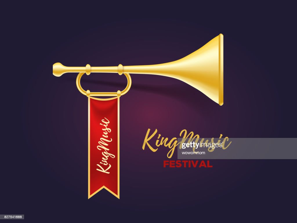 Realistic vector illustration of shiny golden metal trumpet with red ribbon and text on dark background.