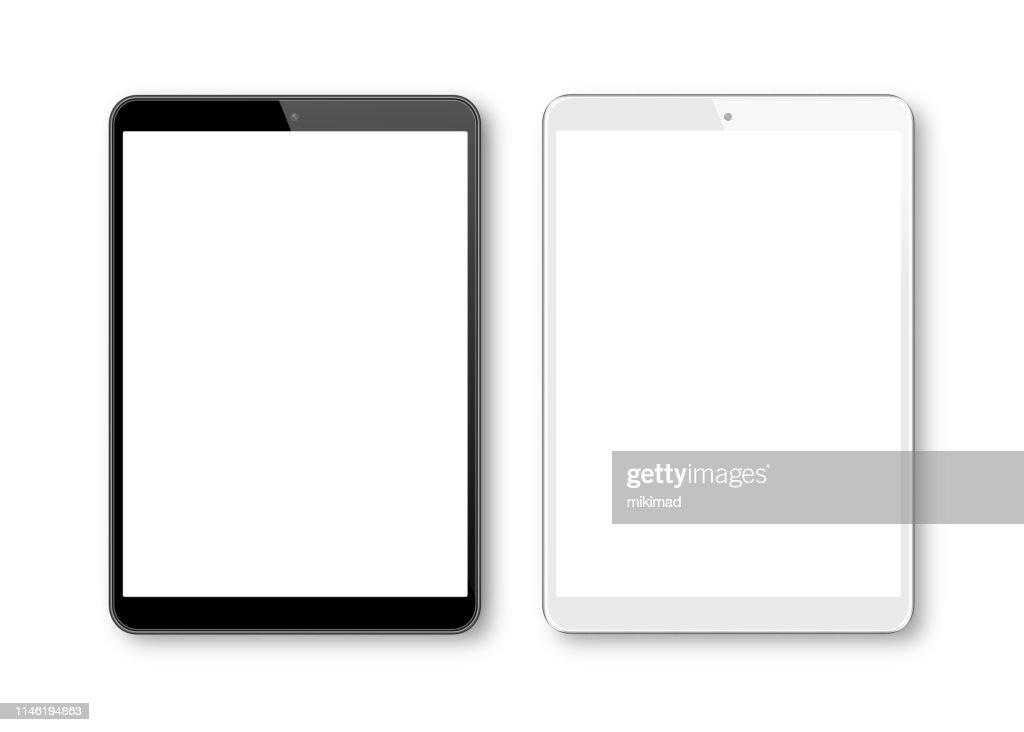 Realistische vector illustratie van witte en zwarte digitale Tablet sjabloon. Moderne digitale apparaten : Stockillustraties