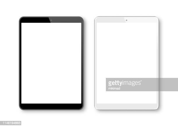stockillustraties, clipart, cartoons en iconen met realistische vector illustratie van witte en zwarte digitale tablet sjabloon. moderne digitale apparaten - beeldscherm