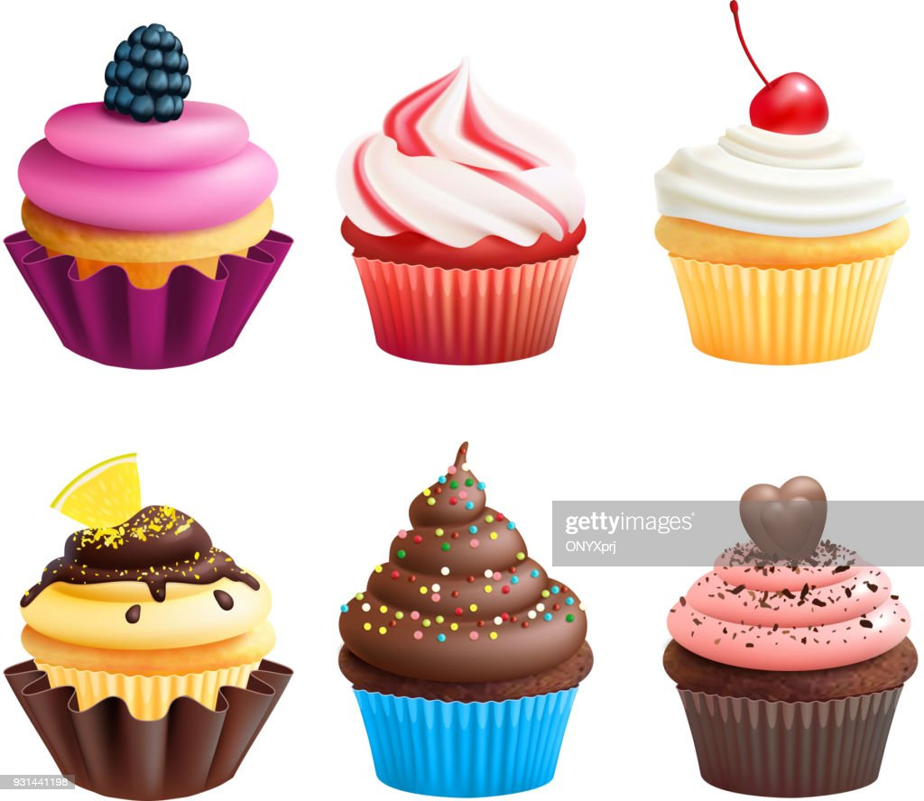Realistic vector illustrations of cupcakes. Sweets for birthday party