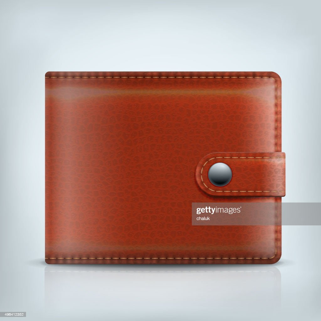 Realistic vector leather textured brown wallet