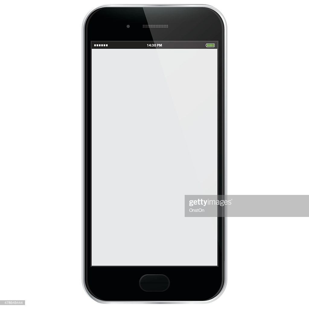 Realistic Vector Mobile Phone - Black