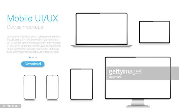 realistic vector mockup digital tablet, mobile phone, smart phone, laptop and computer monitor. modern digital devices. eps 10. - equipment stock illustrations