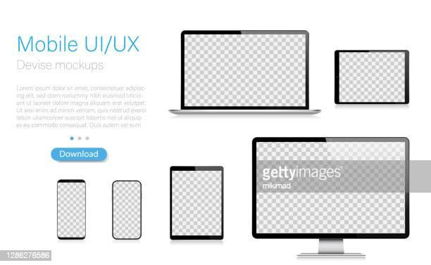 realistische vector mockup digital tablet, handy, smartphone, laptop und computer-monitor. moderne digitale geräte. eps 10. - smartphone stock-grafiken, -clipart, -cartoons und -symbole