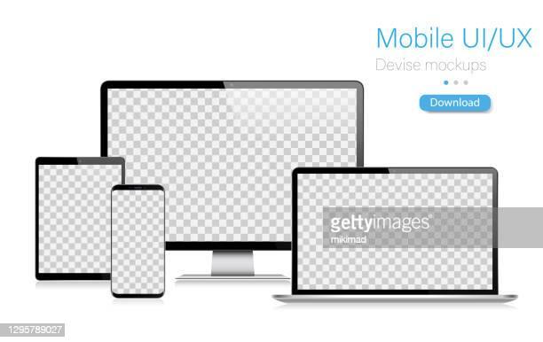 stockillustraties, clipart, cartoons en iconen met realistische vector mockup digitale tablet, mobiele telefoon, smartphone, laptop en computermonitor. ui / ux design. vectorillustratie, modern digitaal bedenken, digitale malplaatje. de illustratie van de voorraad. eps 10. - tablet pc