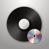 Realistic vector music gramophone vinyl LP record and cd icons