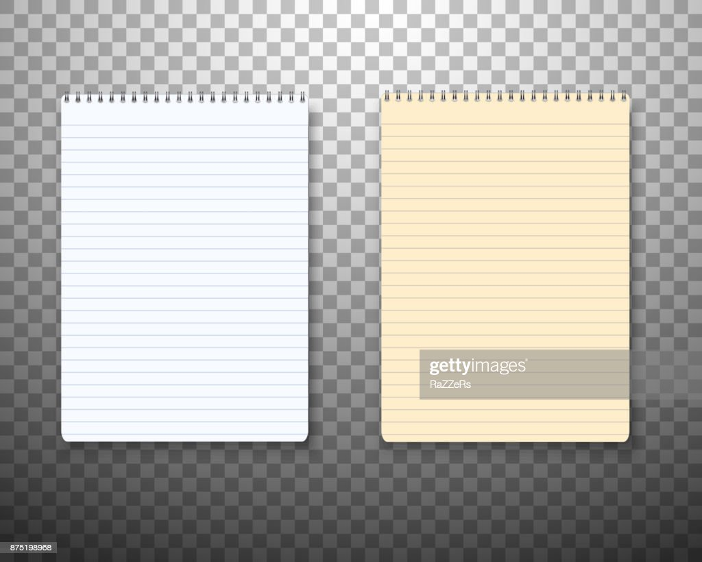 Realistic Vector Paper Notepad Notebook Set