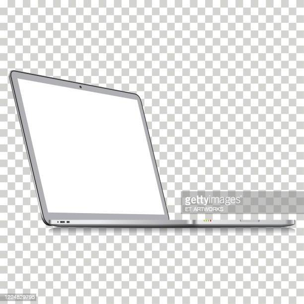 realistic vector perspective view of laptop on transparent background template. - point of view stock illustrations