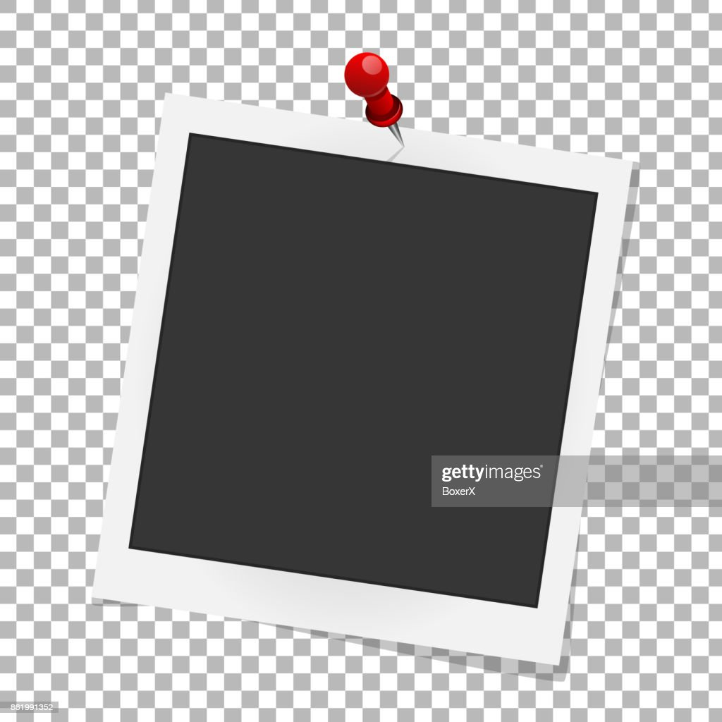 Realistic vector photo frame on red pin. Template photo design, Vector illustration
