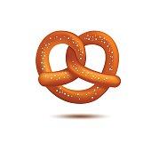 Realistic vector pretzel on the white background