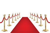 Realistic vector red event carpet and silver barriers isolated on white background. Design template, clipart in EPS10