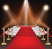 Realistic vector red event carpet, gold barriers and white stairs isolated on white background. Design template, clipart in EPS10