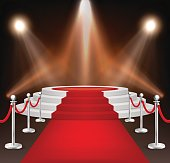 Realistic vector red event carpet, silver barriers and white stairs isolated on white background. Design template, clipart in EPS10