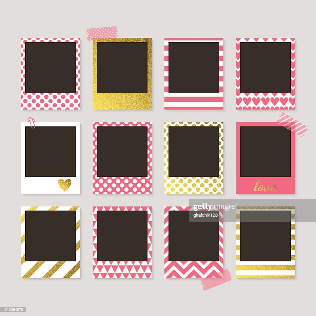 Realistic vector retro photo frames with gold, pink and white