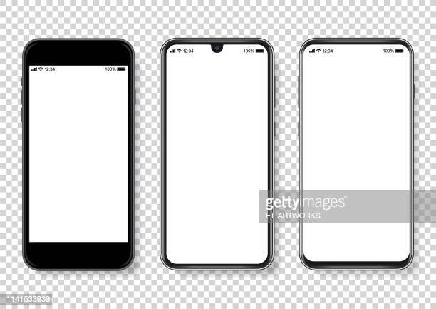 realistic vector smartphone illustration - device screen stock illustrations