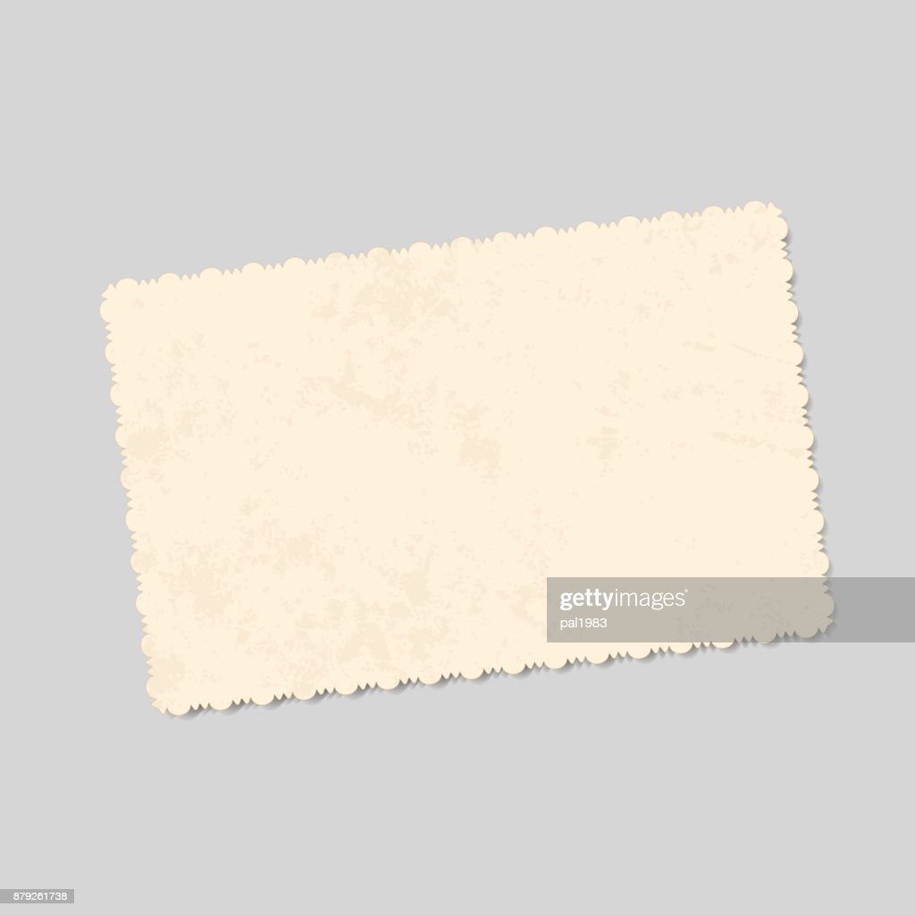 realistic vector template vintage photo with patterned edges and spots of old age. isolated for design