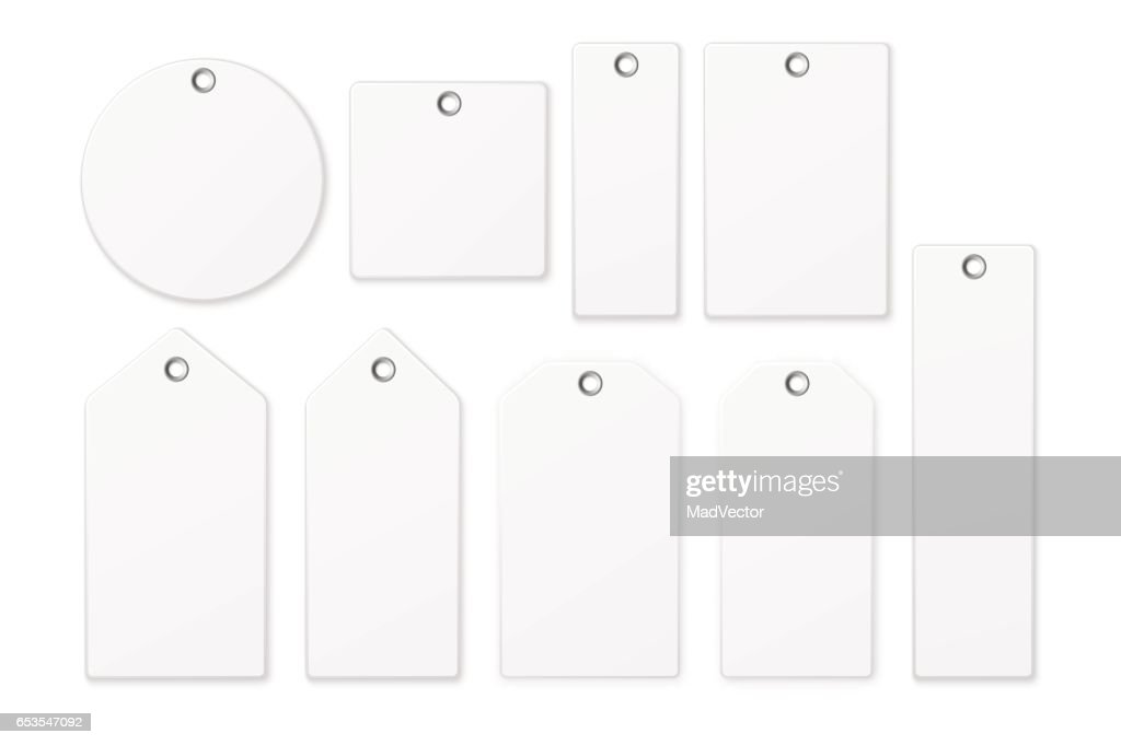 Realistic vector white blank tag icon set isolated on white background. Design template EPS10
