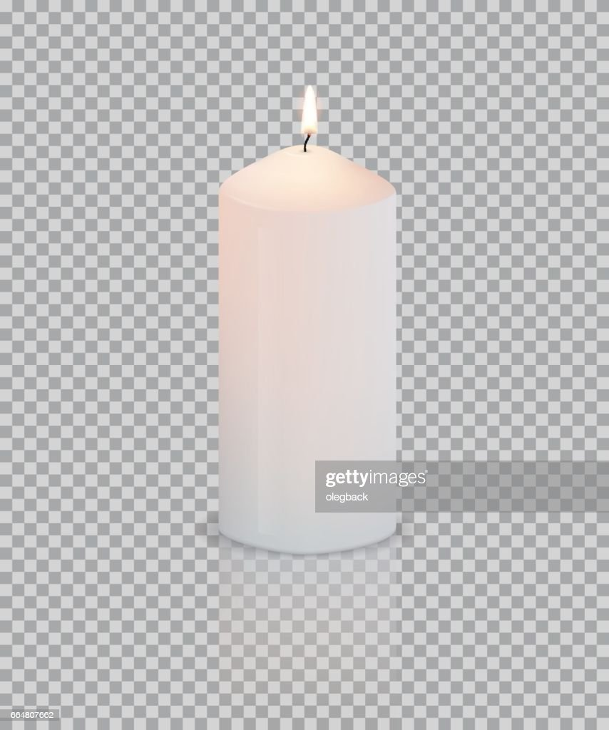 Realistic vector white candle with fire on transparent background.