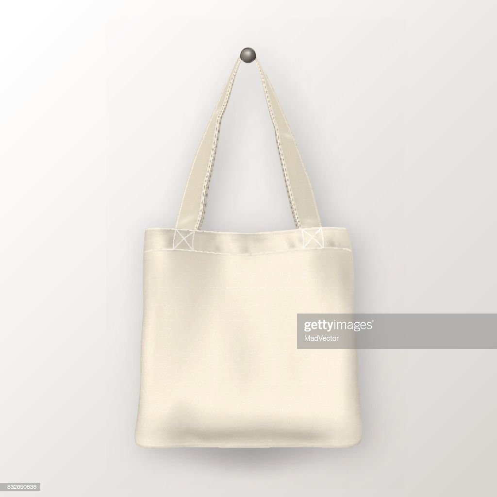 Realistic vector white empty textile tote bag. Closeup isolated on white background. Design template for branding, mockup. EPS10