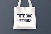 Realistic vector white empty textile tote bag. Closeup on blue background. Design template for branding, mockup. EPS10