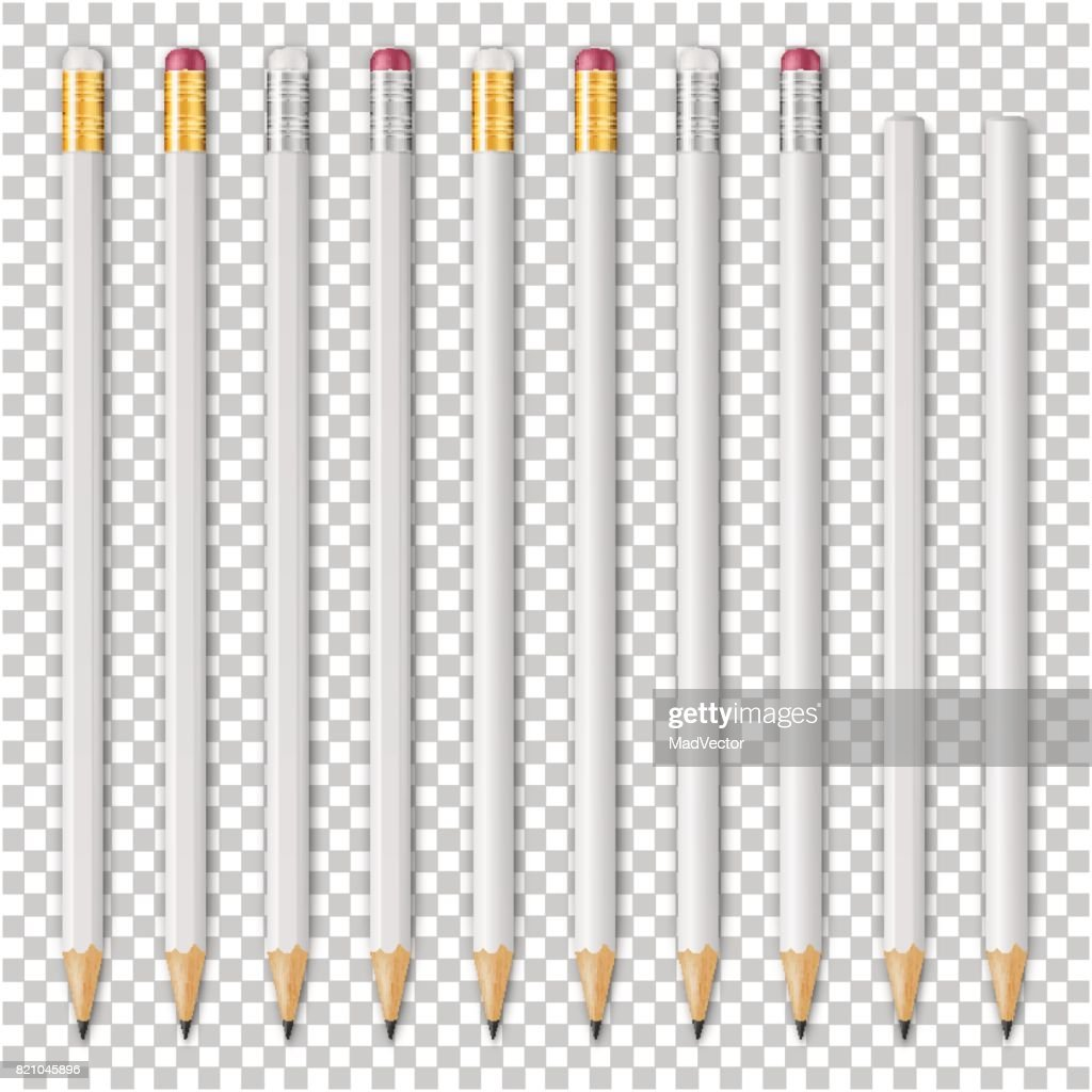 Realistic vector white empty wood sharp pencil icon set. Closeup isolated on transparent background. Design template for branding, mockup. EPS10
