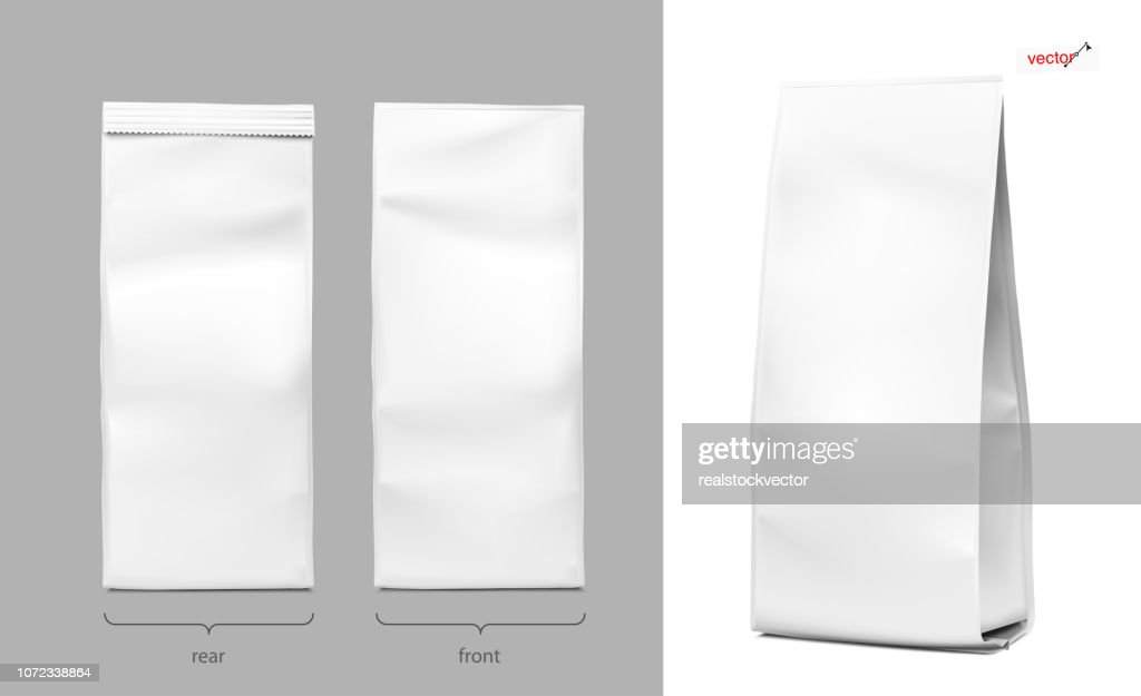 Realistic vertical bag mockups. Packaging from different angles. Front, rear and perspective view.