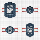 Realistic Veterans Day Banners with Ribbons