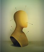 realistic vintage mannequin with pins pierce, portrait of nobody,