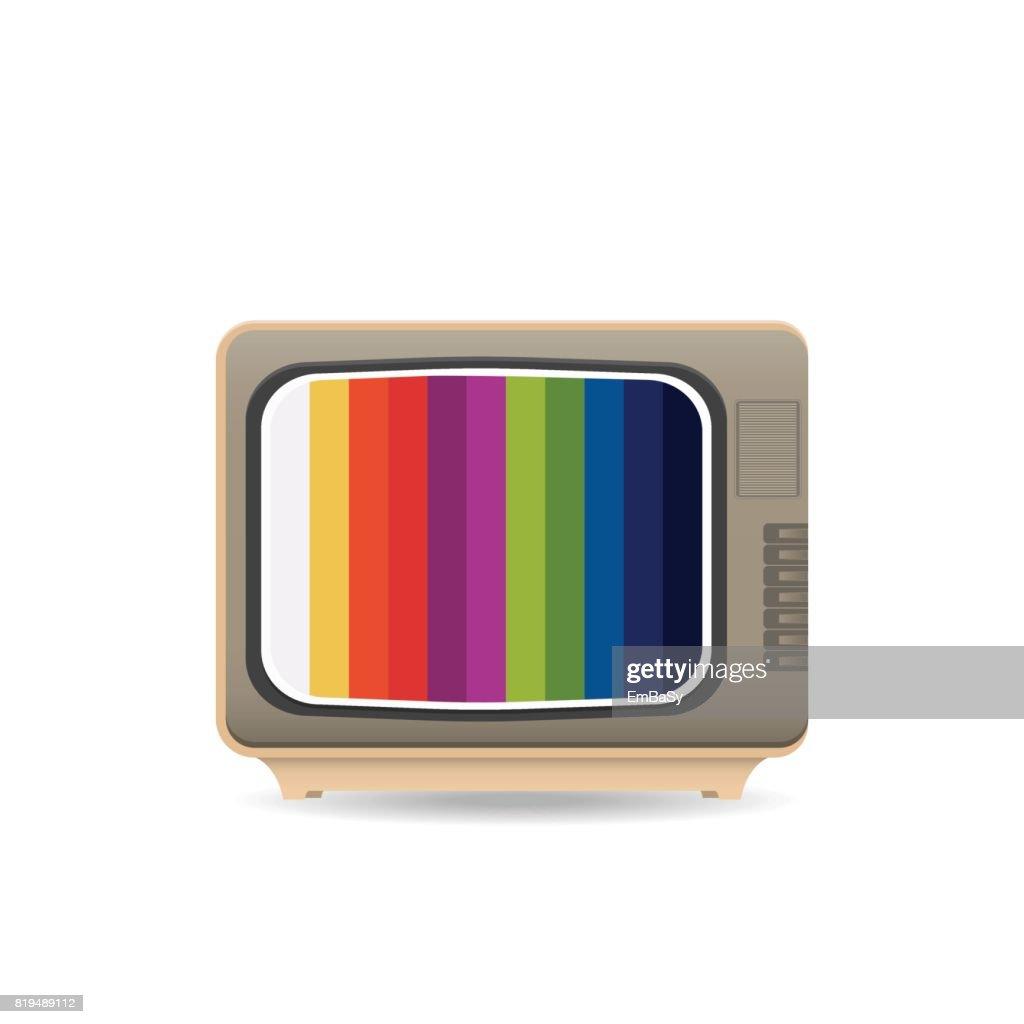 Realistic vintage TV icon.