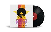 Realistic Vinyl Record with Cover Mockup. Disco party.