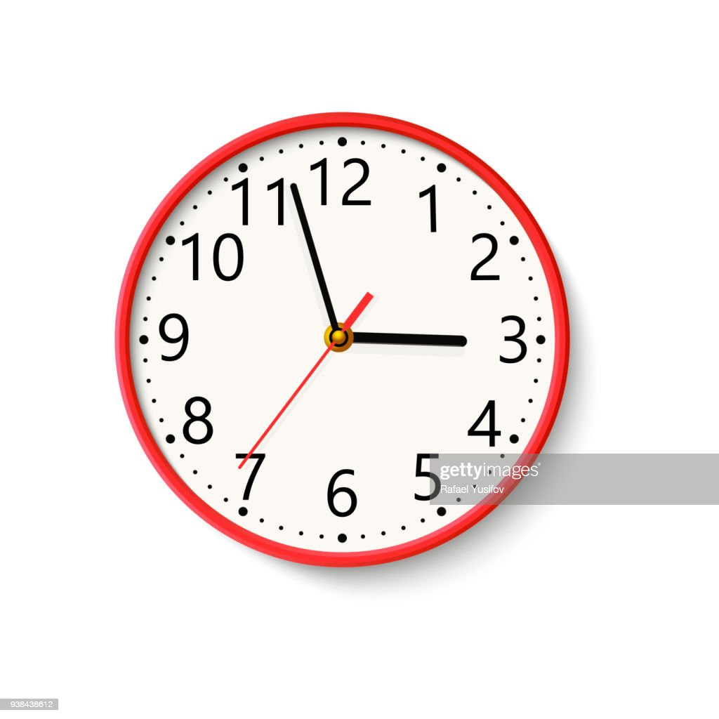Realistic wall clock on white background. Vector.