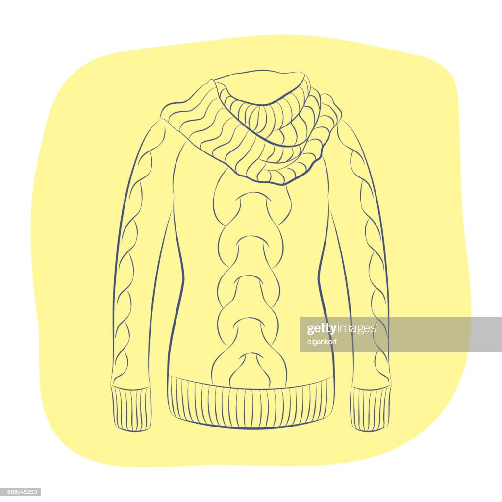 A realistic warm jumper or knitted sweater with a large collar. Women fashion winter clothes. Contour object on an yellow background. Vector sketch illustration in hand drawing style