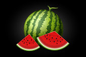 Realistic watermelon with slices isolated on black. Vector illustration