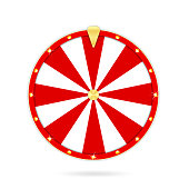 Realistic wheel of fortune isolated on white background. Gambling roulette and fortune wheel concept, casino prize and luck