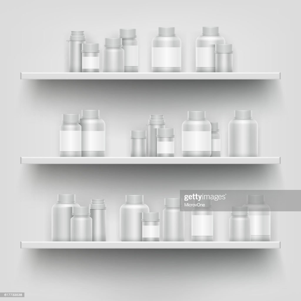 Realistic white 3d medicine blank bottle for pills on pharmacy