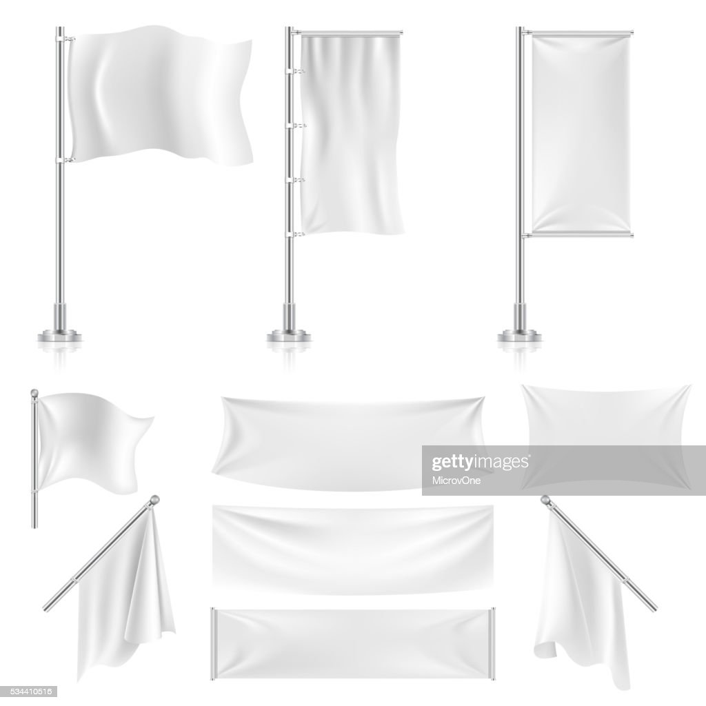 Realistic white advertising textile flags and banners vector set