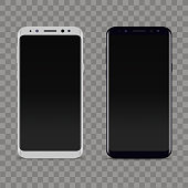 Realistic white and black smartphone on transparent background. Vector.