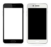 Realistic white and black smartphone with blank touch screen isolated on white background. Vector illustration