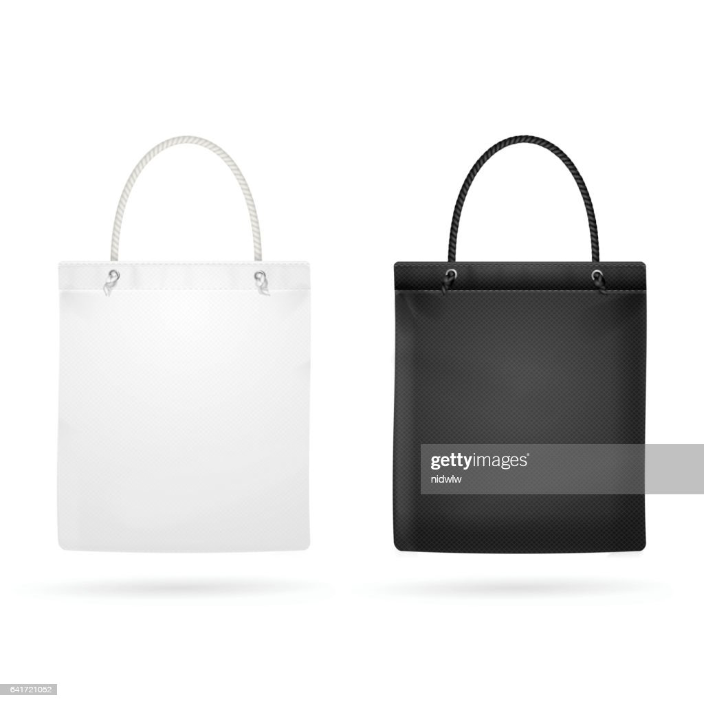 Realistic White and Black Template Blank Fabric Cloth Tote Bag. Vector