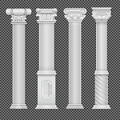 Realistic white antique roman column isolated on transparent background