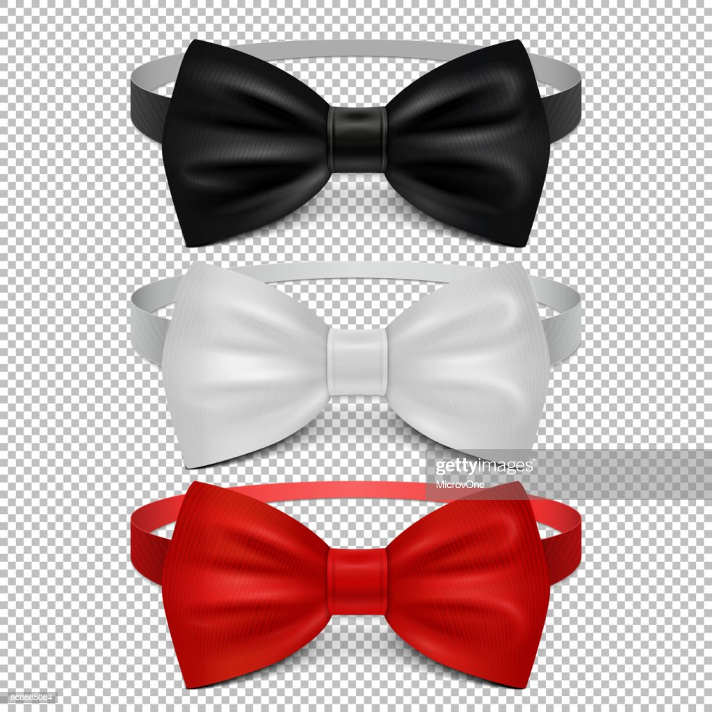 Realistic white, black and red bow tie isolated on transparent background