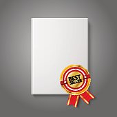 Realistic white blank hardcover book, front view with golden and