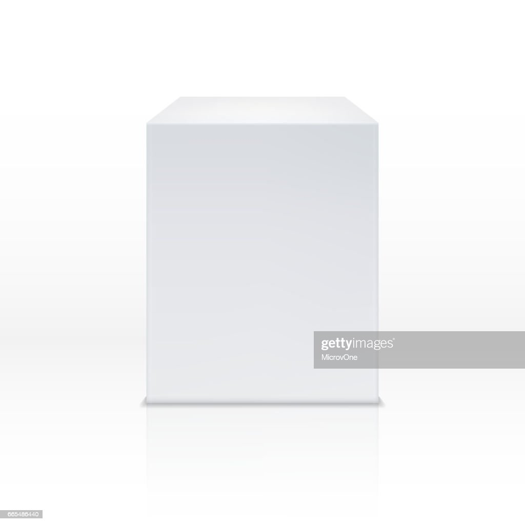 Realistic white cube box, 3d podium, blank pedestal vector illustration