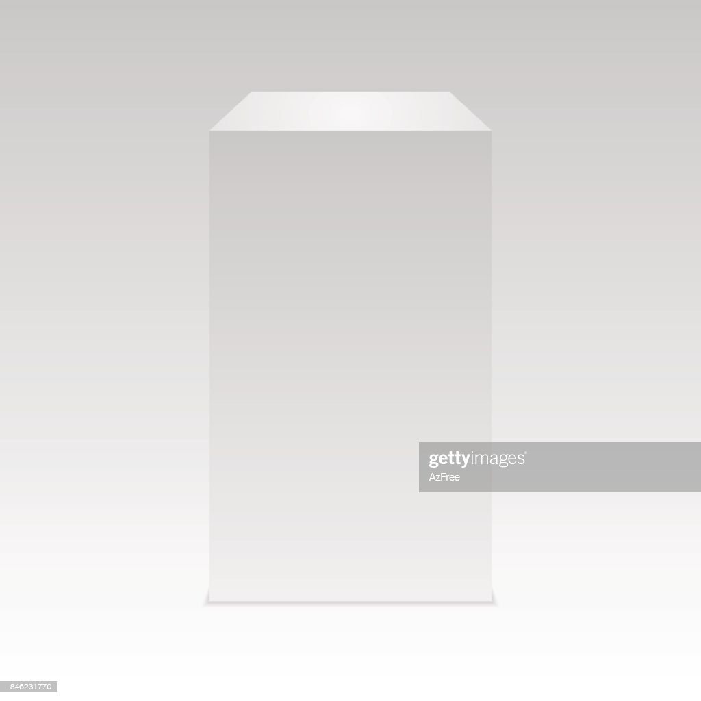 Realistic white cube with Shadow.  Vector.