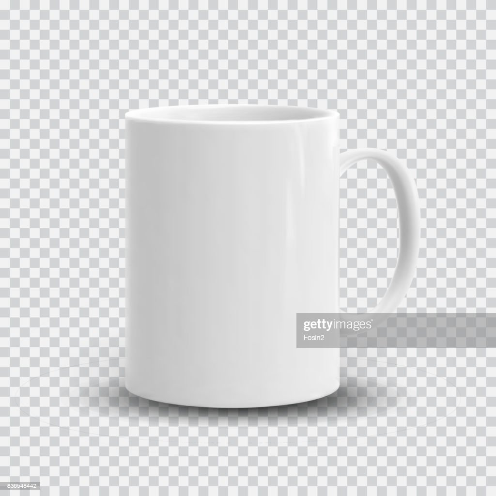 Realistic white cup isolated on transparent background. Vector template for Mock Up. Vector illustration