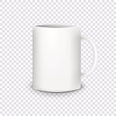 Realistic white cup isolated on transparent background. Vector illustration.
