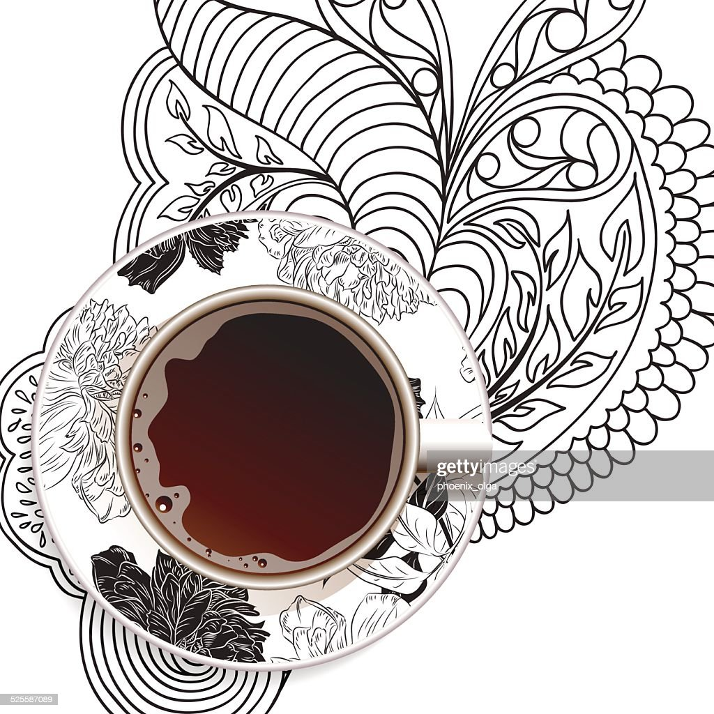 Realistic white cup of coffee on ornament and flower background.