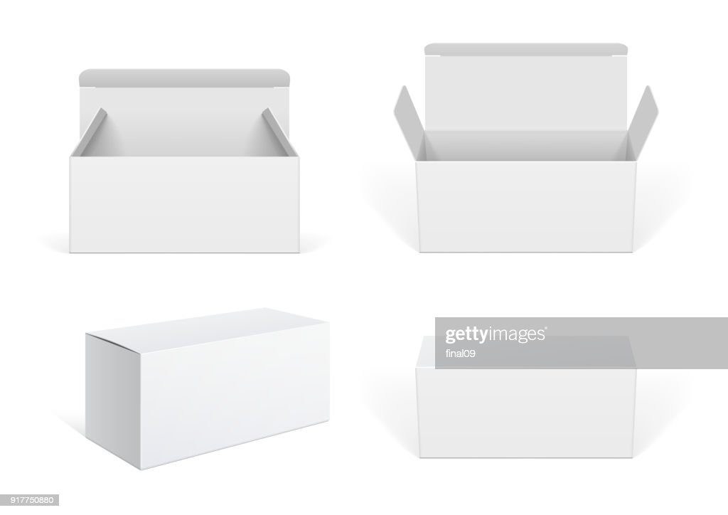 Realistic White Package Cardboard Box set